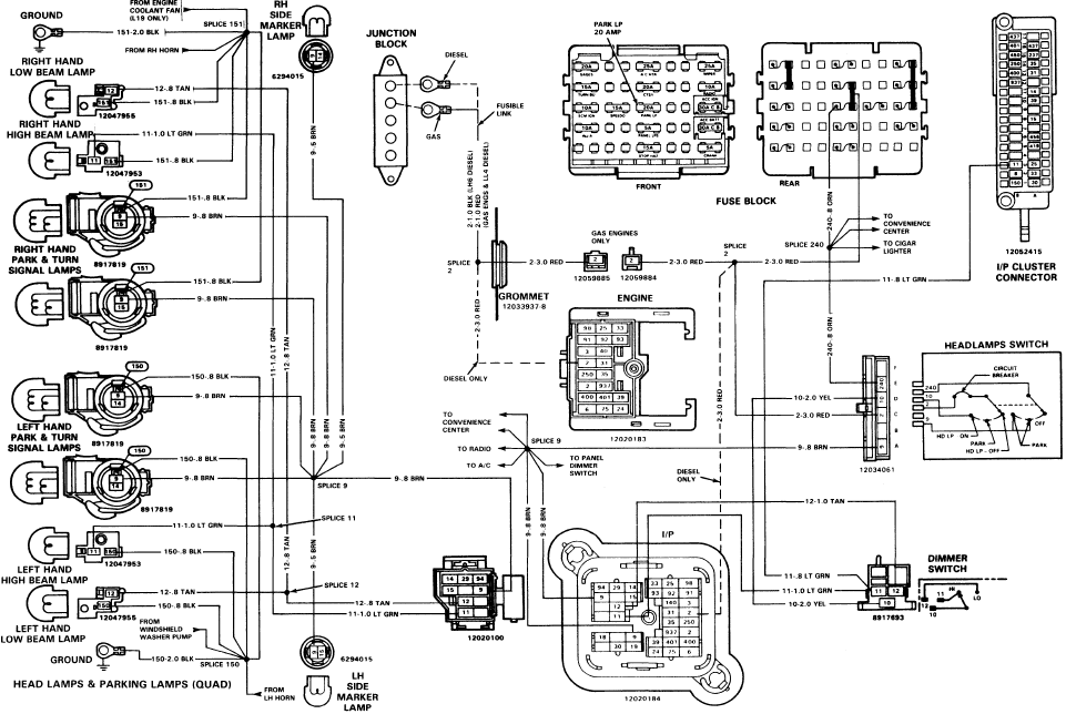 square body headlight wiring diagram