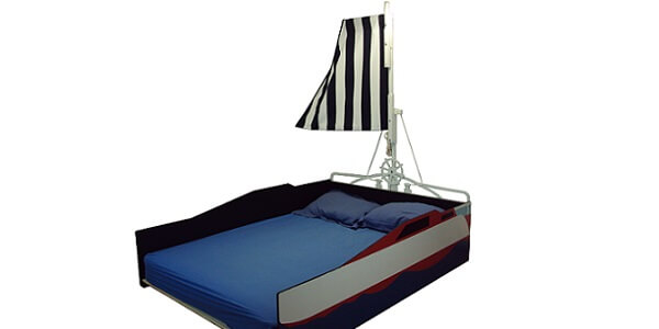 Contemporary sailboat bed frame