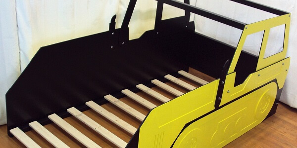 Bulldozer bed frame with mattress