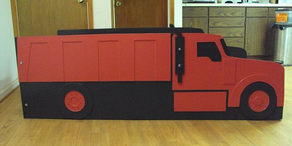red dump truck side view