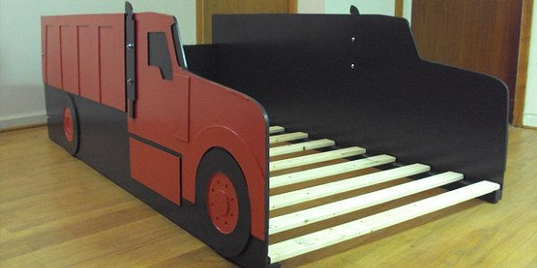 red dump truck front view